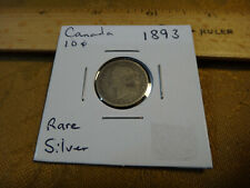 1893 Canada Silver 10 Ten Cents 10c Flat 3 - Free S&H USA
