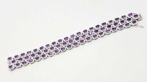 """925 Silver Amethyst 6.1mm Bracelet 7 1/4"""" DY931"""