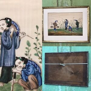 Antique Chinese Pith Rice Paper Painting Picture Framed DAMAGED