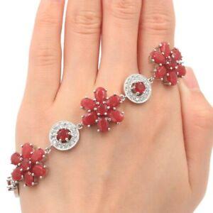 Fancy Real Red Ruby White CZ Woman's Present Silver Bracelet 7.0-7.5in