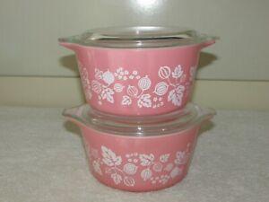 2 Vintage Pyrex Pink Gooseberry 473, 1 Quart Casserole Bowls Dishes with Lids