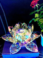 LARGE  MULTI CRYSTAL LOTUS FLOWER ORNAMENT WITH GIFT BOX  CRYSTOCRAFT HOME DECOR