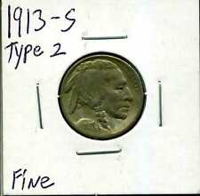1913-S 5C Type 2 Buffalo Nickel in Fine Condition #01435