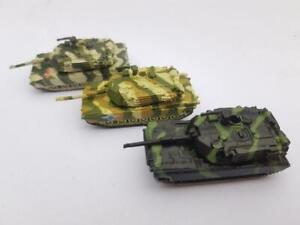 3 x Micro Machines M1A1 Abrams military vehicles Tank Green Camo