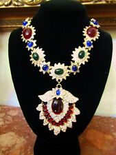 GORGEOUS High End Red Green Blue Lucite Cabochon Rhinestone Statement Necklace