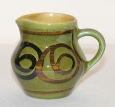 "Vtg Brixham Pottery small green creamer jug H3"" 7.5cm black swirls 1960s-70s"