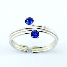 Crystal Triple Wire Toe Ring Sterling Silver 925 Best Deal Jewelry Blue Sapphire