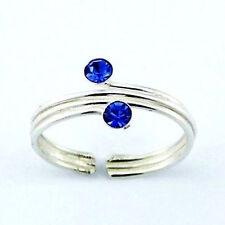Crystal Triple Wire Toe Ring Sterling Silver 925 Best Deal Jewelry Blue Sapphire
