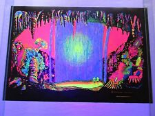 Vintage Psychedelic Blacklight Poster WINDOW Waterfall Over Trippy Sunset RARE