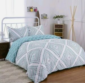 JML DUVET COVER SET QUEEN SHAMS MICROFIBER REVERSIBLE AZURE DIAMOND BED BEDROOM