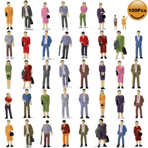 100pcs 1:43 O Scale Standing Painted Figures People Passenger 14 Different Poses
