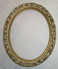Vintage Ornate Gold Wooden Picture Painting Frame Oval Painted 16x13
