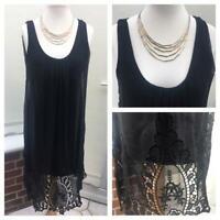 Piazza Roma black dress, 100% silk Italian lagenlook layered Boho size 12 cl5