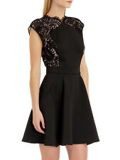 TED BAKER black pink lace panel fit & flare skater dress wedding prom party 4 14
