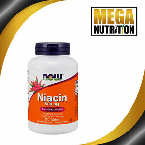 NOW Foods Vitamin B3 Niacin 500mg 250 Tabs Sustained Release | Energy Production