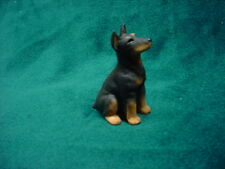 Doberman Pinscher black cropped Dog Figurine Hand Painted Miniature Small Mini