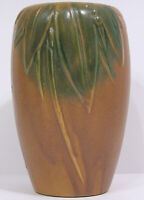 "Vintage Early McCoy Brown & Green Pottery 6"" Vase Leaves, Berries 1926 USA"