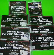 800 FIRST DAY COVER POLY SLEEVES, FOR #10, #6-3/4, AND POSTCARDS - BCW BRAND