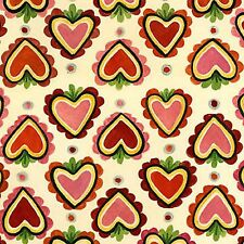In The Beginning Marzipan by Julie Paschkis 6MZ1 Small Hearts Red Cotton Fabric