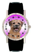 Border Terrier Mens Ladies Genuine Black Leather Band Quartz Wrist Watch SA1838
