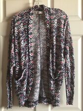 Abercrombie Kids Girl Size S/M Blue Pink Knit Pattern Cardigan Cotton Blend EUC