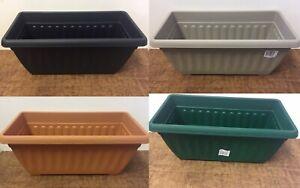 2x Window Sill Plastic Rectangle Plant Pots -Sizes 40cm, 60cm & 90cm & 4 Colours