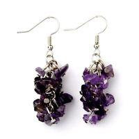 1 Natural Pair of Amethyst Gemstone Cluster Dangle Fashion Earrings - # B301