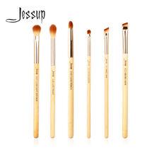 Jessup 6pcs Bamboo Eye Brushes Set Blending Pencil Brow Liner Lip Makeup Tools