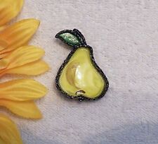 Enamel Overlay Metal Black Tone Vl-B4 Classic Pin Brooch Pear Yellow Green Stem