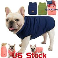 Waterproof Padded Pet Dog Coats Puffer Jacket Dogs Solid Winter Warm Clothes US