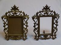 Brass Color Heavy Metal Iron Pair Picture Frames Set 2 LOT Hollywood Regency 4x6