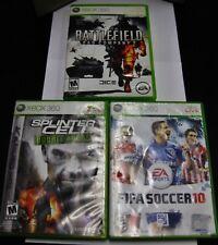 XBOX 360 Video Games (3) FIFA Soccer 10 / Battlefield 2 / Splinter Cell