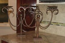 Pair of Vintage JAN BARBOGLIO Bronze Wrought Iron Pillar Candlestick Candelabra