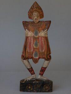 """Vintage THAI Carved & Painted Wood Figure 16.5"""" Tall"""