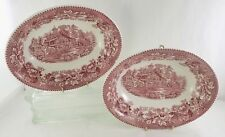 2 Wedgwood- Pink Avon Cottage- Oval Serving China Dish- Staffordshire England