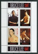 Angola MNH Bruce Lee Martial Arts Actor 4v M/S Famous People Movies Stamps