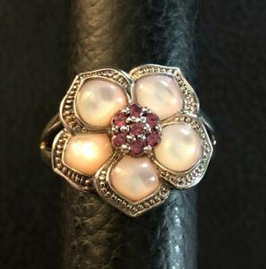 Sterling Silver Ring Flower Mother of Pearl Rhodolite Sz 8 7g Rhodium 925 #1360