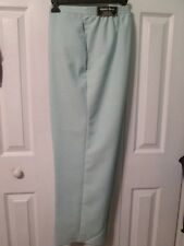 NWT Alfred Dunner Woman's Aqua Linen Look Elastic Waist Pull On Pants 18 Short