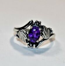Lovely Wheeler WMCO Sterling Silver Grape Leaf AMETHYST GEMSTONE Ring Sz- 5.75