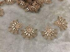 4pcs Beige Fan Shaped Retro Lace Gold Thread Embroidery Applique Motif 5*4.5cm