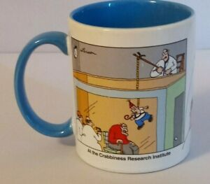 The Far Side Mug Coffee Cup 1998 Gary Larsen Crabbiness Research Institute Blue