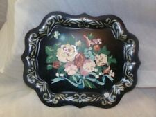 "Vintage Hand Painted Flowers Black Toleware Big Tray Wall Hanging 15""x19"""