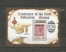 GIBRALTAR -1986 Anniv. of the Postage Stamp in Gibraltar - MUH MINIATURE SHEET.
