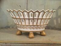 Vintage Casasus Spain White & Gilded Porcelain basket Neoclassical Style
