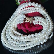 """Honora 14k yellow gold 16.0"""" white pearl multi strand necklace vintage 56.6gr"""