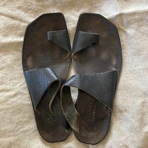 Cydwoq Sandals Hilary Thong Toe Ring Handmade Textured Black 39 Vtg