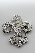 Women Men Silver Metal Western Belt Buckle Rodeo Luck Fleur De Lis French Symbol