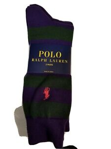 New Polo Ralph Lauren Men Socks Cotton 2 pair  Royal Purple and Solid Purple