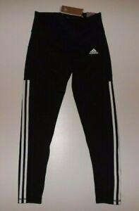ADIDAS Black White 3 Stripe PES 7/8 Tight Athletic Pants M Medium NWT Womens