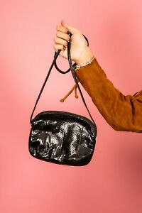 Vintage black snakeskin shoulder bag by Etra Handbags